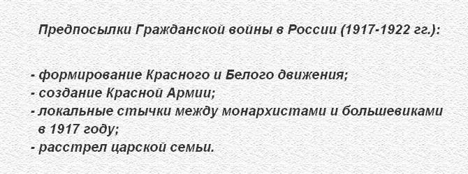 Предпосылки гражданской войны в России 1917 г.