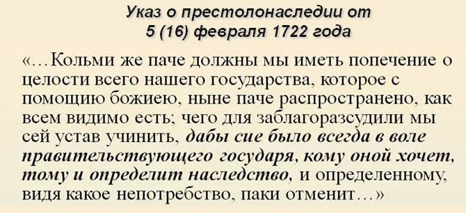 Указ о престолонаследии Петра 1