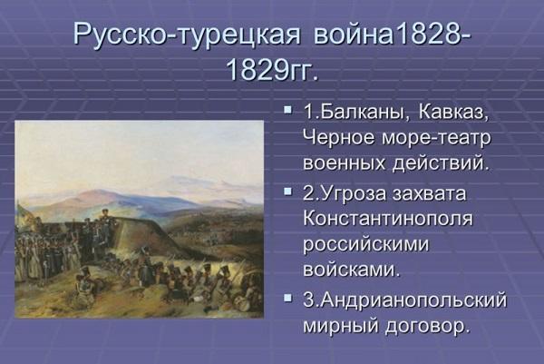 Внешняя политика Николая 1: таблица