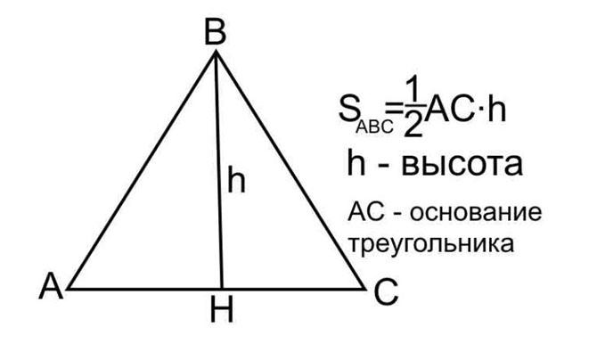 Нахождение площади равностороннего треугольника