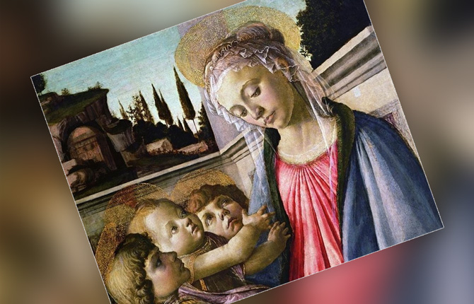Фрагмент картины «Мадонна с младенцем и двумя ангелами»