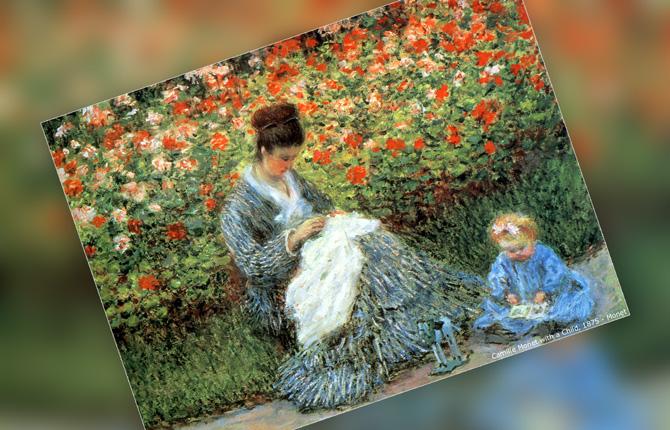 Мадам Моне с ребенком в саду художника в Аржантее. 1875 г.