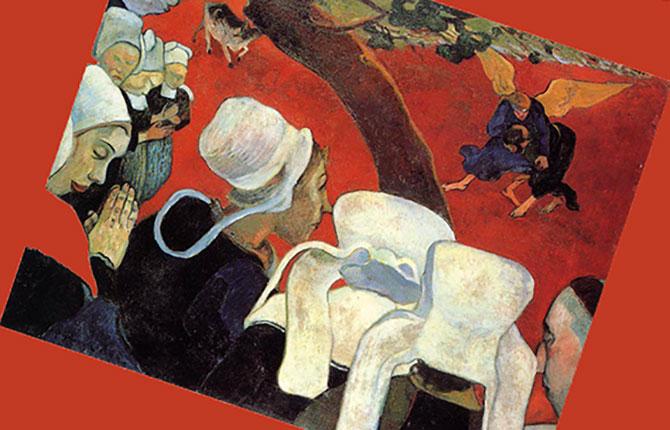 Полотно Гогена «Видение после проповеди, или борьба Иакова с Ангелом» (1888 г.).