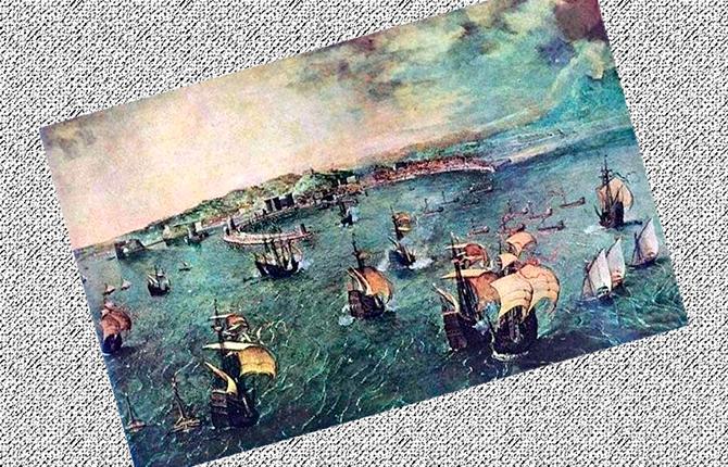 Брейгель старший «Морской бой в гавани Неаполя», 1560 г