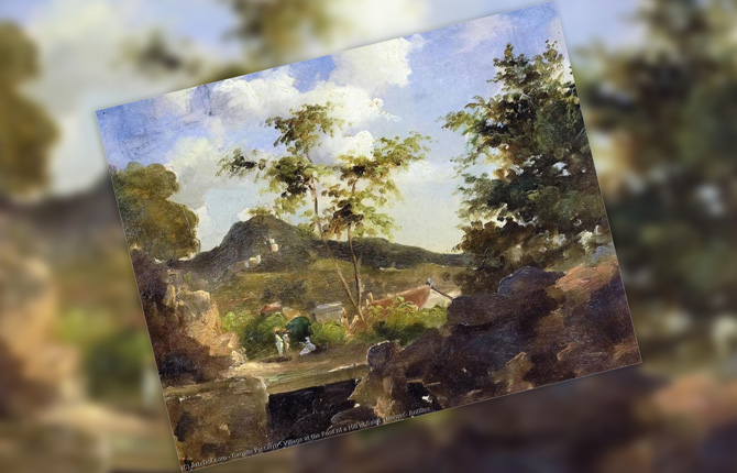 «Деревня у подножия горы Сен-Томас» 1855 г.