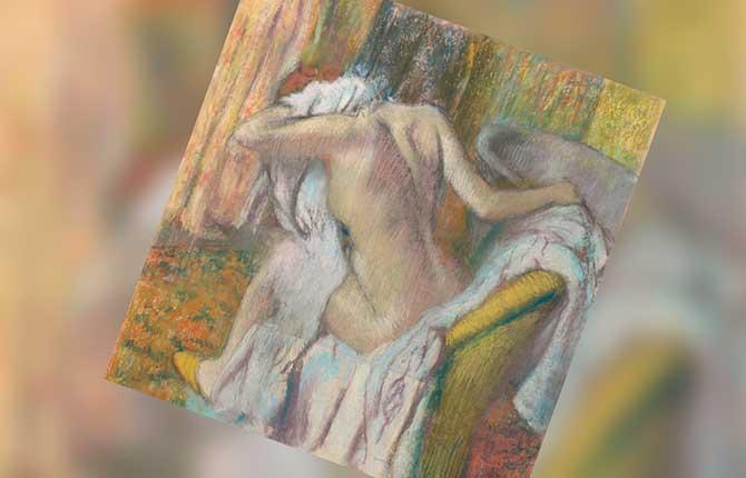 Женщина, вытирающая себя после ванны, Дега