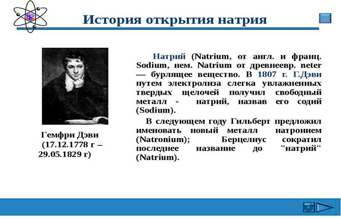 История открытия натрия