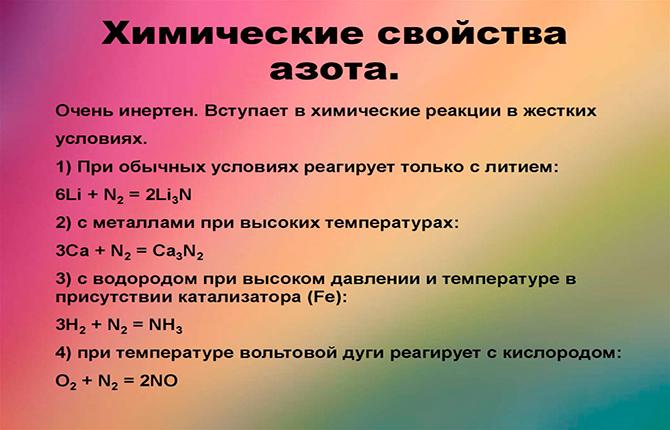 Химические свойства азота